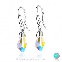 Kalyn - Сребърни обеци с кристал Сваровски Aurora Borealis 13 мм 6015162422