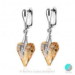 Leone - Сребърни обеци сърце с кристал Swarovski Golden Shadow 17 мм 62401123-Кристали