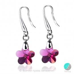 Annora - Сребърни обеци цвете с кристал Swarovski Fuchsia 14 мм 6744142422-Кристали
