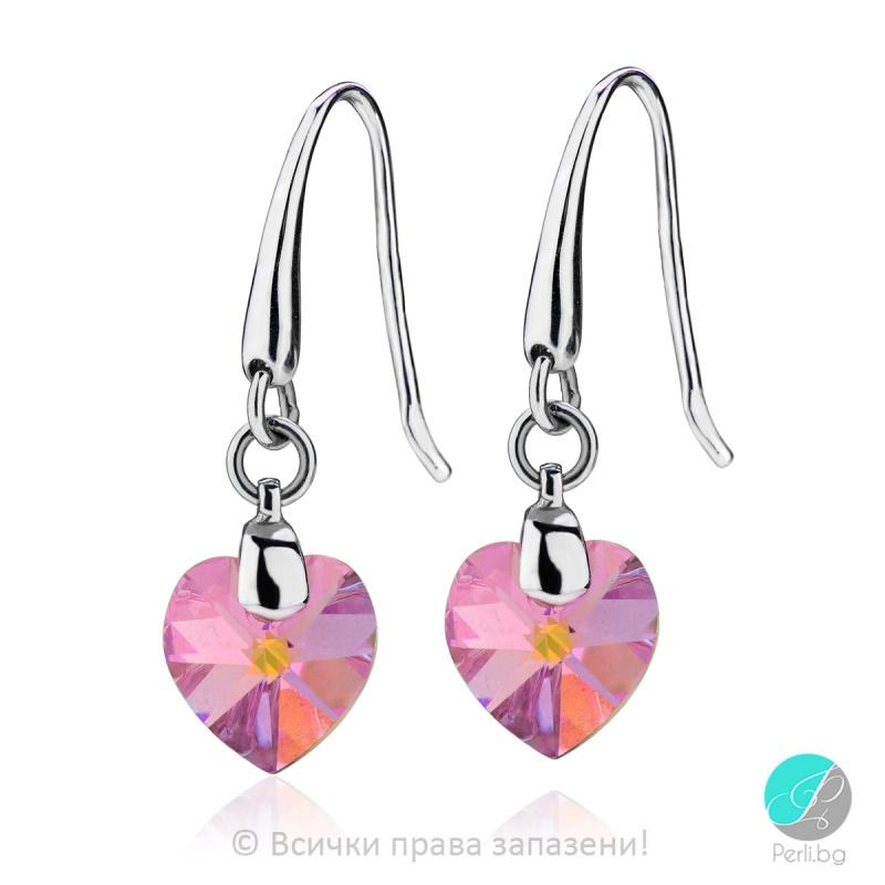 Semana - Сребърни обеци сърце с кристал Swarovski Light Rose AB 10 мм 6202422422-Символи на любовта
