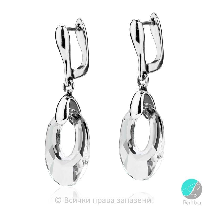 Lucienne - Сребърни обеци с кристал Swarovski 20 мм 60401421-Кристали