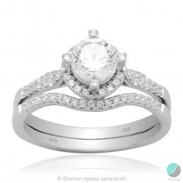 Halynn - Сребърен комплект пръстен и халка с Циркони 5370116247