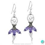 Loran - Сребърни обеци Балеринки с Марказит и Циркони 55565389P-Естествени камъни