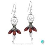 Loran - Сребърни обеци Балеринки с Марказит и Циркони 555653892R-Естествени камъни