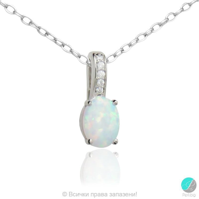 Merilin - Сребърна висулка с Опал 607813425-Естествени камъни