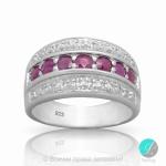 Jeanine - Сребърен пръстен с Рубин и Циркони 13811812109-Естествени камъни