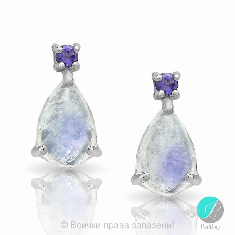Louise - Сребърни обеци с Лунен камък и Аметист 13811812348-Естествени камъни