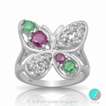 Raphaela - Сребърен пръстен с Рубин и Изумруд 2031571145-Естествени камъни