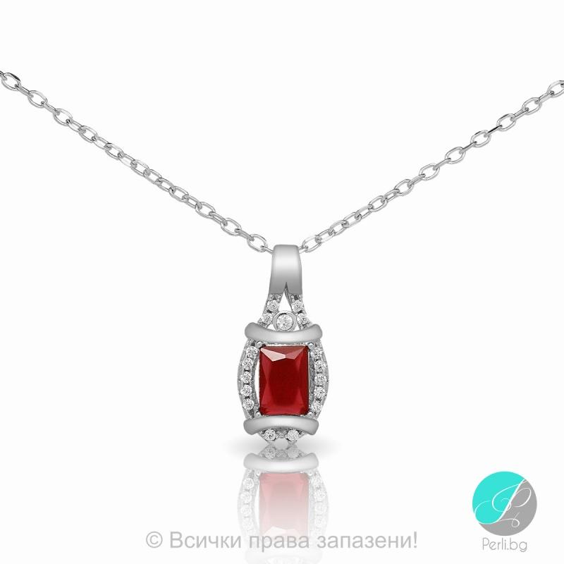 Cherry - Сребърна висулка с Циркон цвят рубин 5370115754R-Сребърни бижута