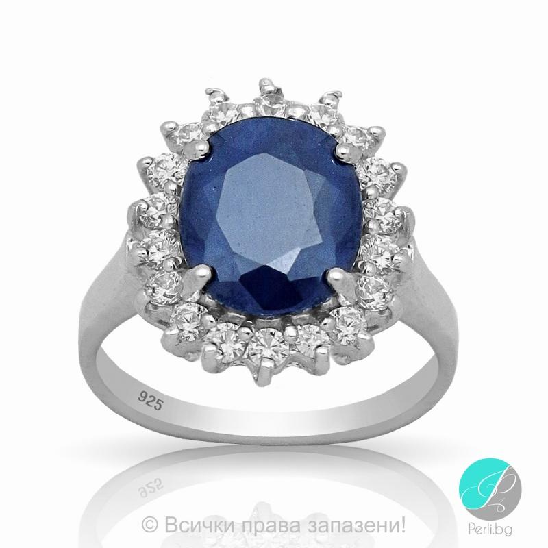 Benigna - Сребърен пръстен със Сапфир и Циркони 888831621-Естествени камъни