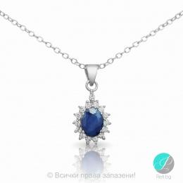 Benigna - Сребърна висулка със Сапфир и Циркони 888833389-Естествени камъни