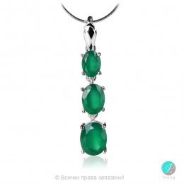 Marlene - Сребърна висулка със Зелен Ахат  13811811681A-Естествени камъни