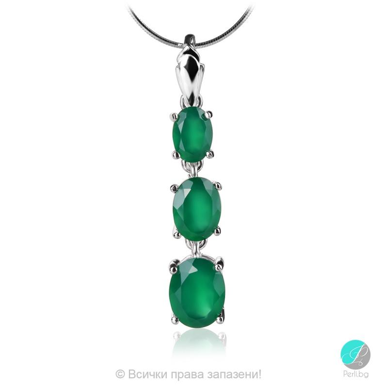 Marlene - Сребърна висулка със Зелен Халцедон 11811681Gh-Естествени камъни