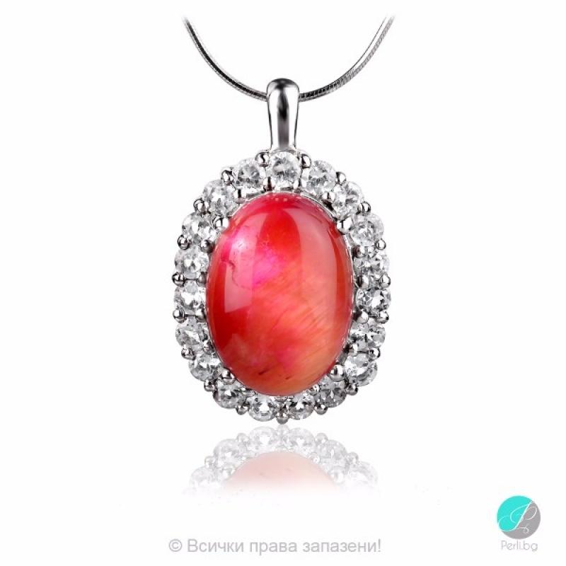 Dell - Сребърна висулка с Котешко око и Циркони 13811812544P-Естествени камъни