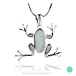 Flossie - Сребърна висулка Жабче с бял Опал 1891479358W-Естествени камъни