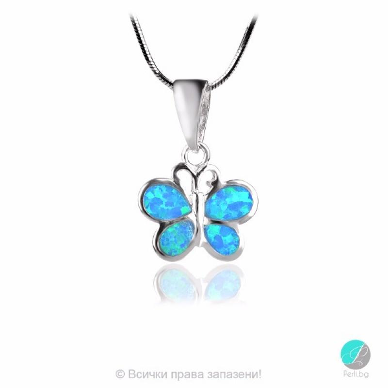 Gabe - Сребърна висулка Пеперуда с Опал 1891479542-Естествени камъни