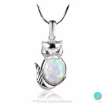 Kitten - Сребърна висулка Коте с бял Опал 1891479676-Естествени камъни