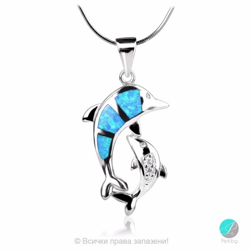 Dolphins - Сребърна висулка Делфини с Опал и Циркони 1891479703-Естествени камъни