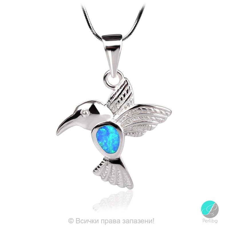 Small bird - Сребърна висулка Колибри със син Опал 1891479705-Естествени камъни