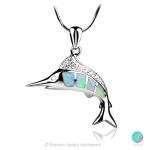 Fish - Сребърна висулка Риба меч с Опал и Циркони 1891479747-Естествени камъни