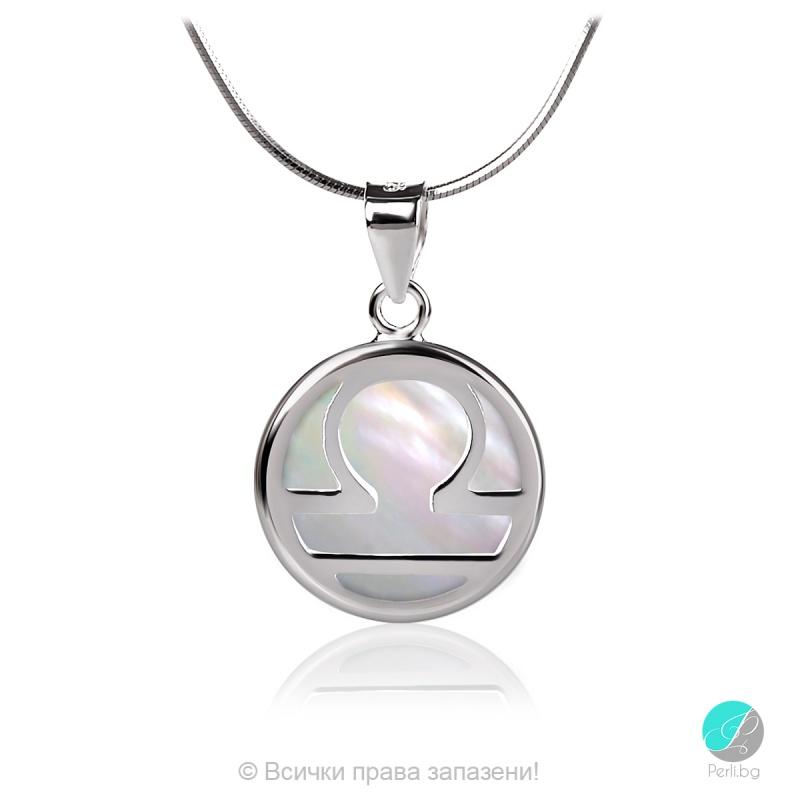 Libra - Сребърна висулка Везни със Седеф 22516564-Естествени камъни