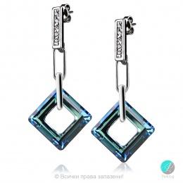 Julianna - Сребърни обеци с кристал Swarovski Bermuda Blue 14 мм 4439111021