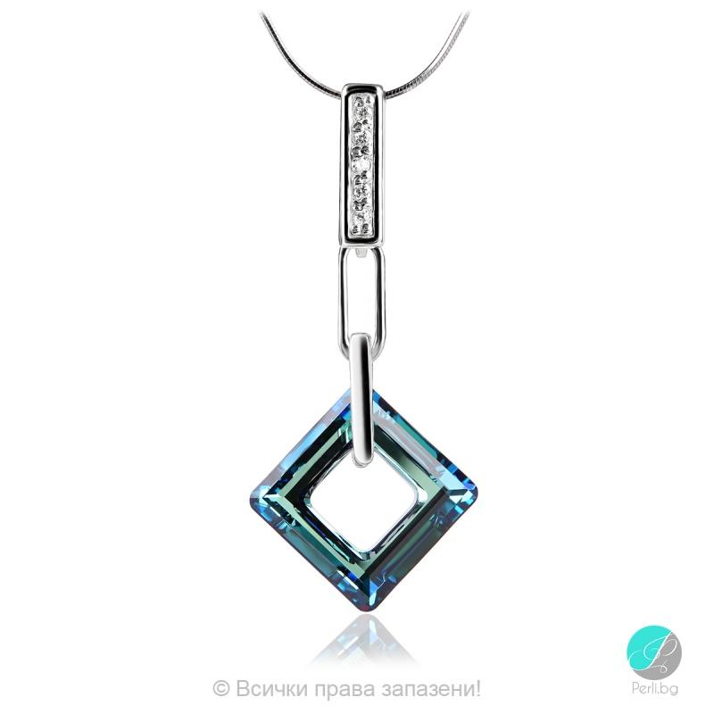 Julianna - Сребърно колие с кристал Swarovski Bermuda Blue 14 мм 4439113021-Кристали