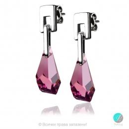 Justina - Сребърни обеци с кристал Swarovski Polygon Drop Аметист 17 мм 601519105