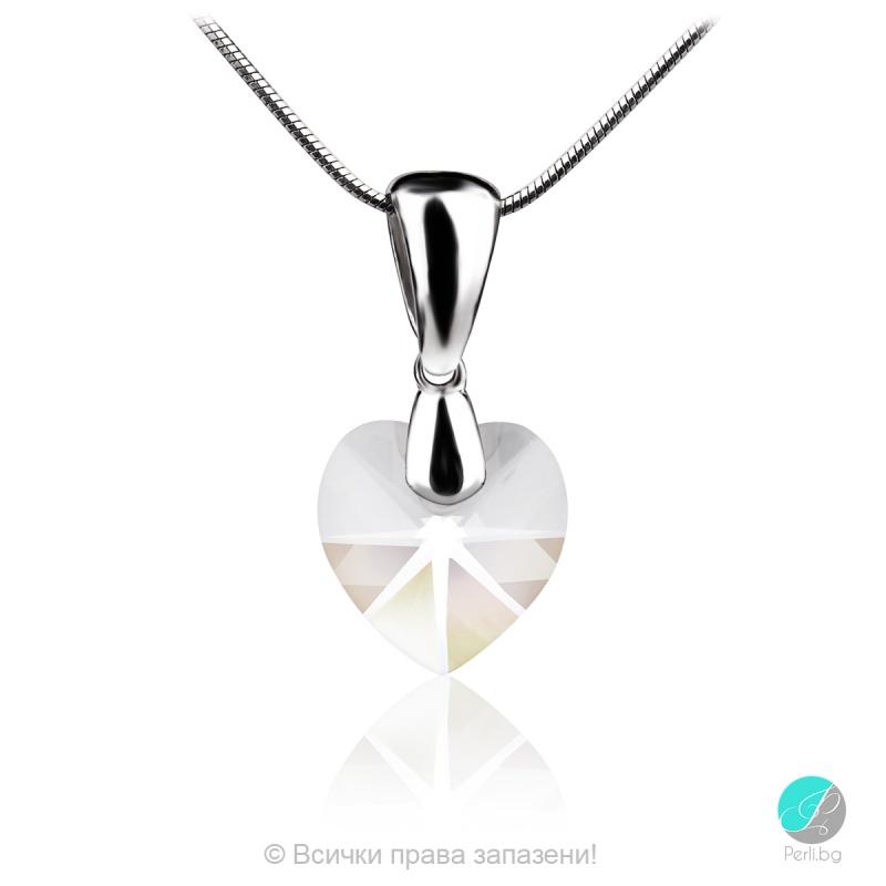 Semana - Сребърно колие сърце с кристал Swarovski 10 мм 62024035-Символи на любовта