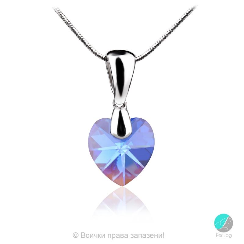Semana - Сребърно колие сърце с кристал Swarovski Sapphire AB 10 мм 62024835-Символи на любовта