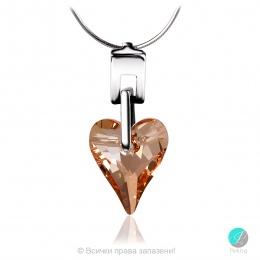 Leone heart - Сребърно колие сърце с кристал Swarovski Golden Shadow 17 мм 624011305-Кристали