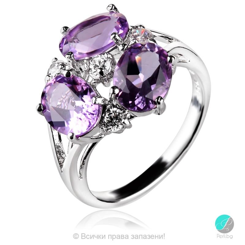 Magali - Сребърен пръстен с Аметист и Циркони 888831940A-Естествени камъни