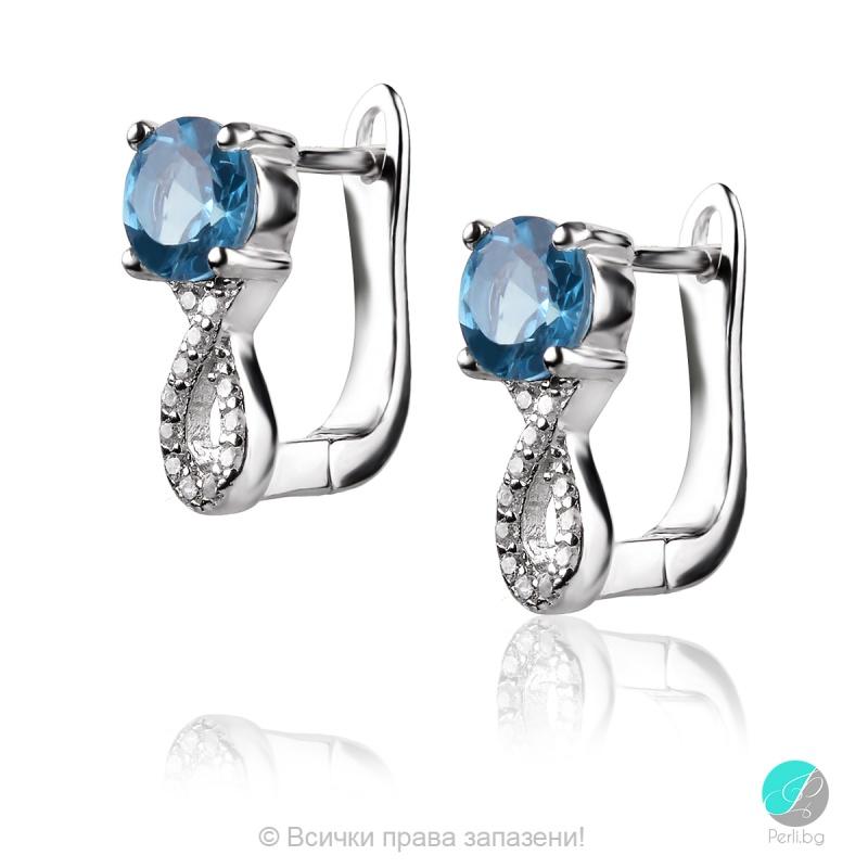 Anelle - Сребърни обеци с Лондон топаз и Циркони 888834938-Естествени камъни