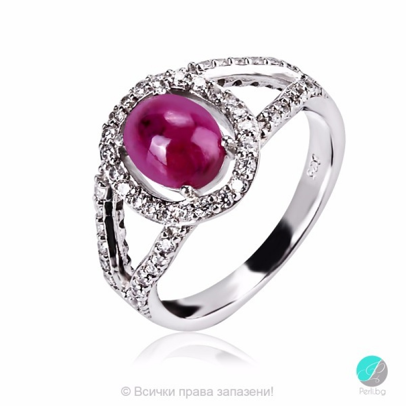 Mesily -  Сребърен пръстен с Рубин и Циркони 2199R-Естествени камъни