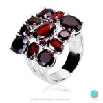Fantasy - Сребърен пръстен с Гранат и Циркони 2220G-Естествени камъни