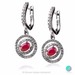 Cherryl - Сребърни обеци с Рубин и Циркони 2198R-Естествени камъни