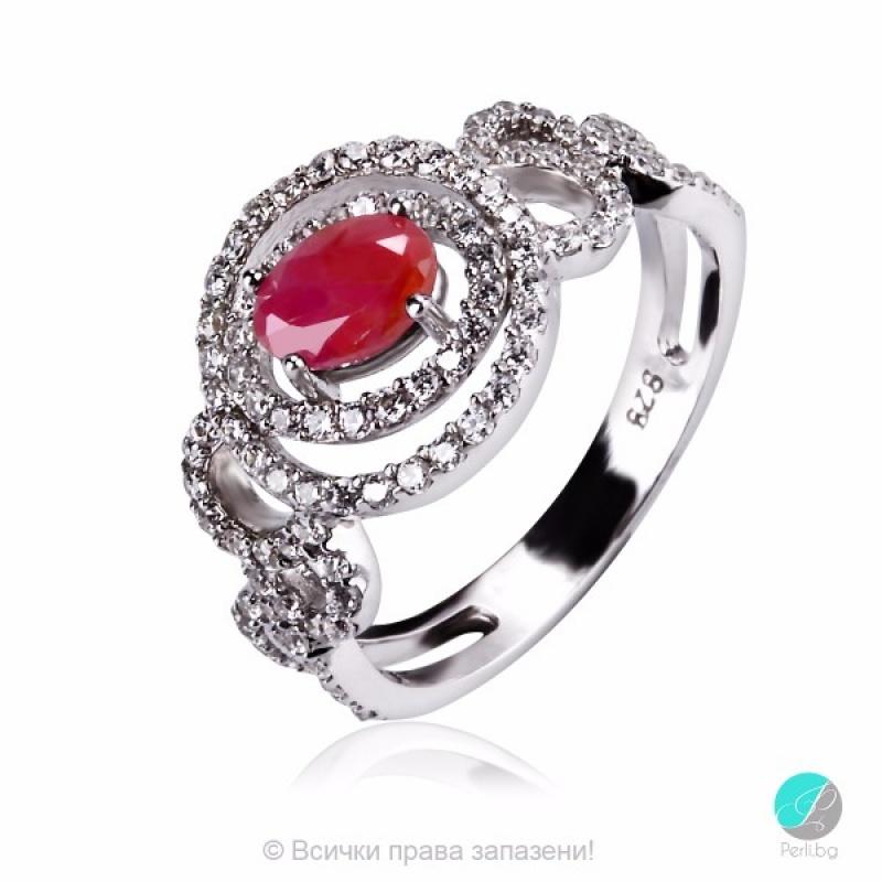 Cherryl - Сребърен пръстен с Рубин и Циркони 2208R-Естествени камъни