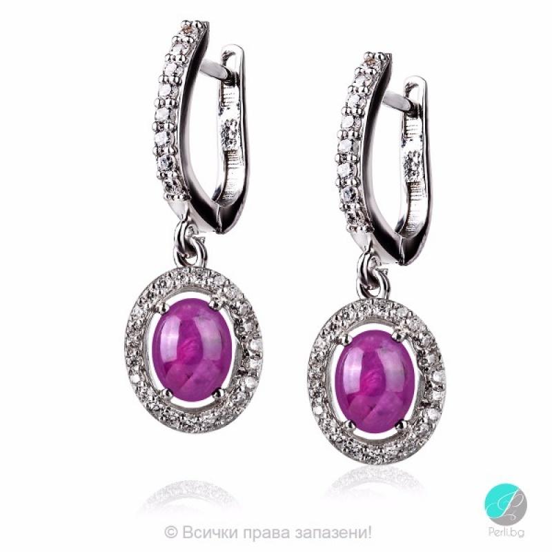 Mesily - Сребърни обеци с Рубин и Циркони 2195R-Естествени камъни