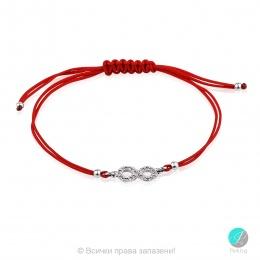 Lydie - Сребърна гривна с червен конец Безкрайност - Шамбала s81514