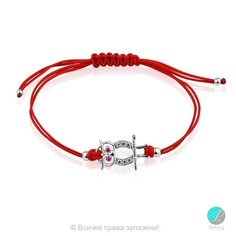 Lydie - Сребърна гривна с червен конец - Бухал s81515-Сребърни бижута