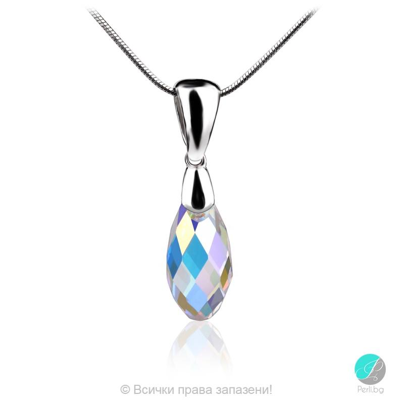 Alexe - Сребърно колие с кристал Swarovski Aurora Borealis 13 мм 60101235-Кристали