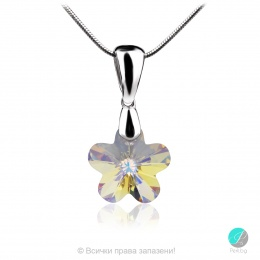 Annora - Сребърно колие цвете с кристал Swarovski Aurora Borealis 12 мм 67441235-Кристали
