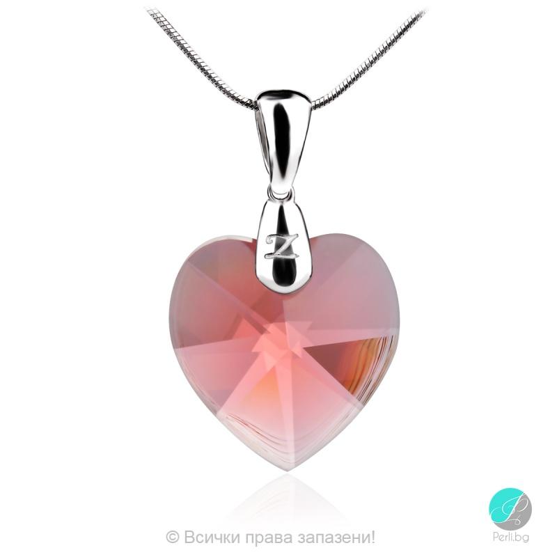 Jolie - Сребърно колие сърце с кристал Swarovski Padparadscha 18 мм 62023639-Символи на любовта