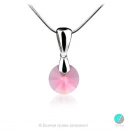 Kristal - Сребърно колие с кристал Swarovski Indian Pink 8 мм 62001435-Кристали