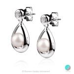 Bernetta - Сребърни обеци с Перла и Циркон АА 6 - 6.5 мм 14129-Обеци