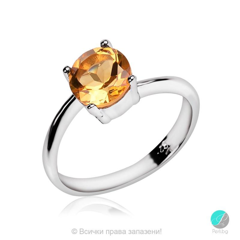 Mensy - Сребърен пръстен с Цитрин 2203CI-Естествени камъни