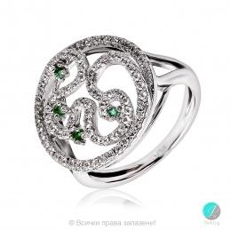 Liny - Сребърен пръстен с Изумруд и Циркони 2213E-Естествени камъни