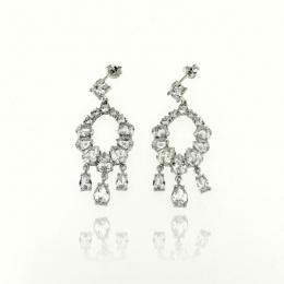 Queen - Сребърни обеци с Цирконий 140130-Сребърни бижута