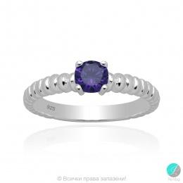 Karlita - Сребърен пръстен с Циркон цвят аметист 5370118111A-Сребърни бижута