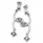 Fina - Сребърни обеци с Циркони 121592-Сребърни бижута